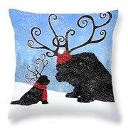 Newfie Reindeer Throw Pillow