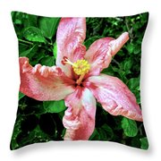 Newly Opened Coral Hibiscus Throw Pillow