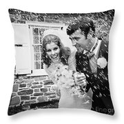 Newlyweds Showered With Rice, C.1960-70s Throw Pillow