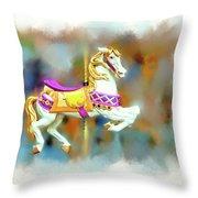 Newport Beach Carousel Horse Throw Pillow