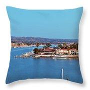 Newport Beach Harbor At Dusk Throw Pillow