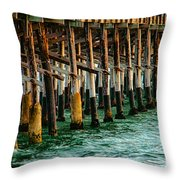 Newport Beach Pier Close Up Throw Pillow