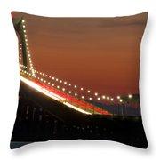 Newport Bridge Twilight Throw Pillow