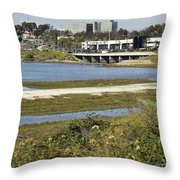 Newport Estuary And Nearby Businesses Throw Pillow