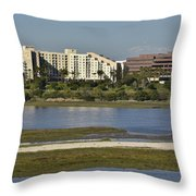 Newport Estuary Looking Across At Major Hotel And Businesses Throw Pillow