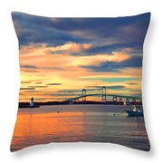 Newport Gold Throw Pillow by Joann Vitali
