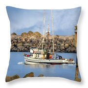 Newport Oregon - Coastal Fishing Throw Pillow