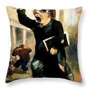 Newsboy Shouting, 1847 Throw Pillow