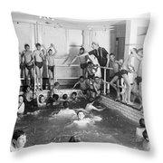 Newsboys Swimming 1900s Throw Pillow