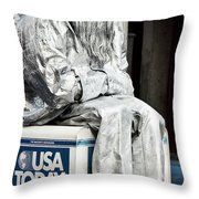 Newsworthy Mime Throw Pillow