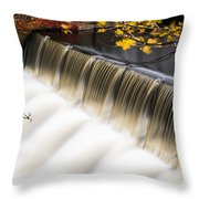 Newton Upper Falls Autumn Waterfall Throw Pillow