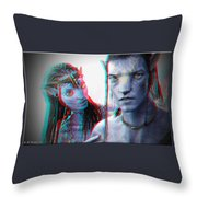 Neytiri And Jake Sully - Use Red-cyan 3d Glasses Throw Pillow