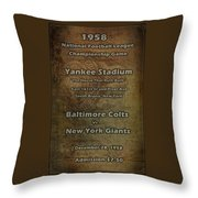 Nfl Championship Game 1958 Throw Pillow