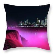 Niagara Falls At Night - Pink Throw Pillow