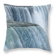 Niagara Falls Closeup Charcoal Effect Throw Pillow
