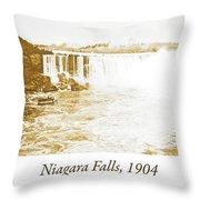 Niagara Falls Ferry Boat, 1904, Vintage Photograph Throw Pillow