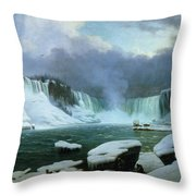 Niagara Falls Throw Pillow by Hippolyte Victor Valentin Sebron