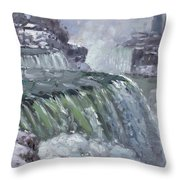 Niagara Falls In Winter  Throw Pillow