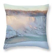 Niagara Falls In Wintertime Throw Pillow