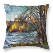 Niagara Falls Lake Throw Pillow