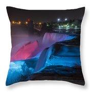 Niagara Falls Light Show Throw Pillow
