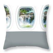 Niagara Falls Porthole Windows Throw Pillow