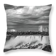 Niagara Falls - The American Side 3 Bw Throw Pillow