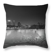 Niagara Falls Under The Moon Bw Throw Pillow by Michael Ver Sprill