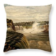 Niagara Falls With Rainbow, 1860 Throw Pillow