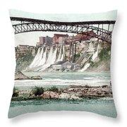 Niagara River, C1900.  Throw Pillow by Granger