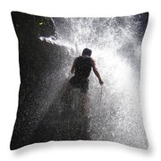 Nick Dale Abseiling Down A Kenyan Waterfall Throw Pillow