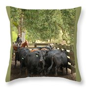 Nick Loading Cattle Throw Pillow