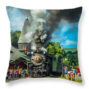 Nickle Plate Road 765 At Jim Thorpe Throw Pillow