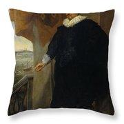 Nicolaes Van Der Borght, Merchant Of Antwerp Throw Pillow