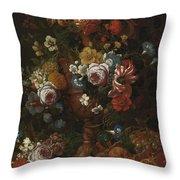 Nicolaes Van Veerendael Antwerp 1640 - 1691 Still Life Of Roses, Carnations And Other Flowers Throw Pillow