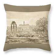 Nicolas-didier Boguet   1755 - 1839   View Of The Roman Forum With The Temple Of Castor Throw Pillow