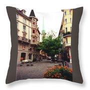 Niederdorf Square In Zurich Switzerland Throw Pillow