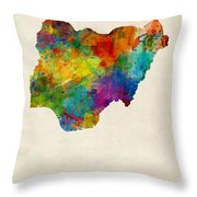 Nigeria Watercolor Map Throw Pillow
