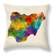 Nigeria Watercolor Map Throw Pillow