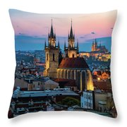 Night Aerial View Of Prague Old Town Throw Pillow