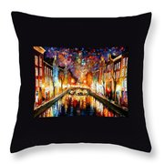 Night Amsterdam Throw Pillow
