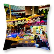 Night At Bar Throw Pillow