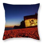 Night At Etretat Beach Throw Pillow
