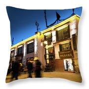 Night At Jokhang Temple Lhasa Kora Tibet Artmif.lv Throw Pillow