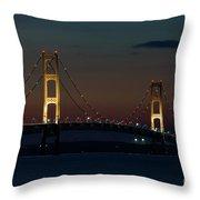 Night At Mackinac Bridge Throw Pillow
