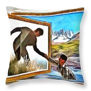 Night At The Art Gallery - One To Another Throw Pillow