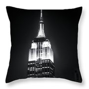 Night At The Empire State Building Throw Pillow