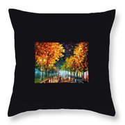 Night Autumn Park  Throw Pillow
