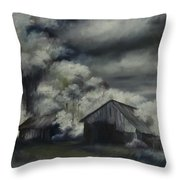 Night Barn Throw Pillow by James Christopher Hill
