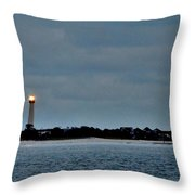 Night Beacon - Cape May Lighthouse Throw Pillow